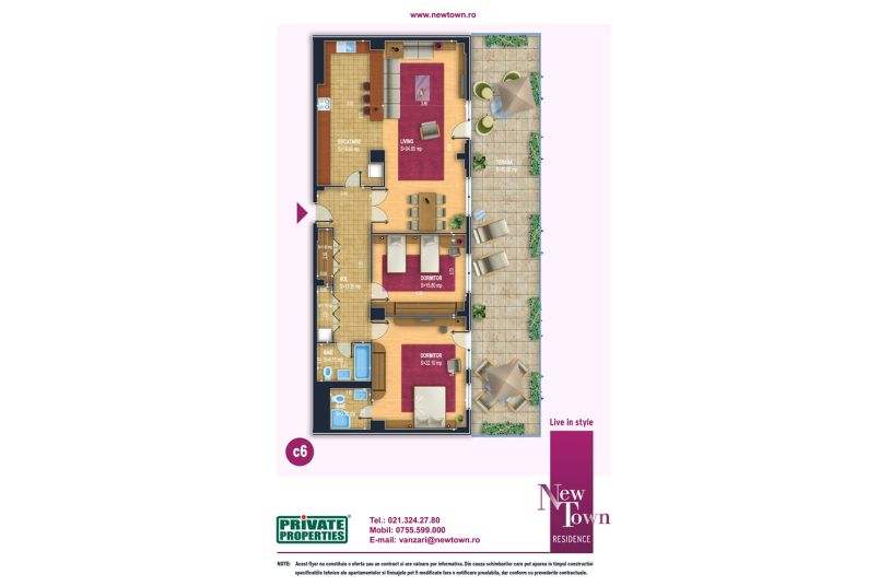 Apartamente 3 camere, model c6, Faza 2, 115 mp, NewTown Residence