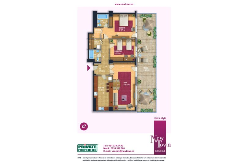 Apartamente 3 camere, model c7, Faza 2, 105 mp, NewTown Resience
