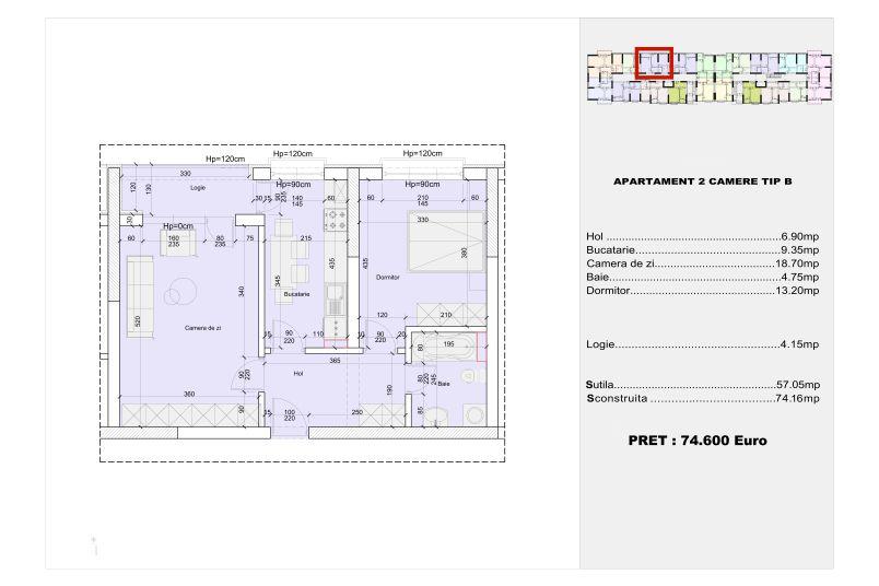 Apartamente 2 camere, tip B, 57 mp, Cotroceni Politehnica Residence