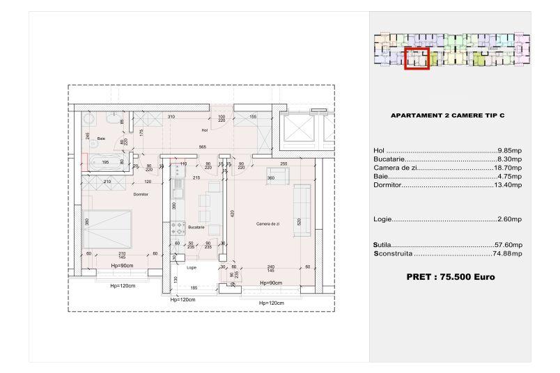 Apartamente 2 camere, tip C, 57 mp, Cotroceni Politehnica Residence