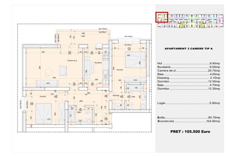 Apartamente 3 camere, tip A, 80 mp, Cotroceni Politehnica Residence