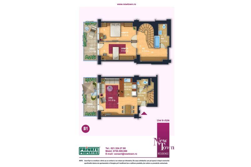Apartamente, 3 camere, model Duplex B1, Faza 2, 78 mp, NewTown Residence