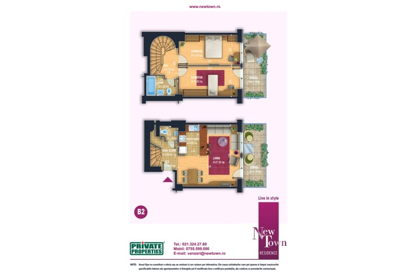 Apartamente 3 camere, model Duplex B2, Faza 2, 70 mp, New Town Residence