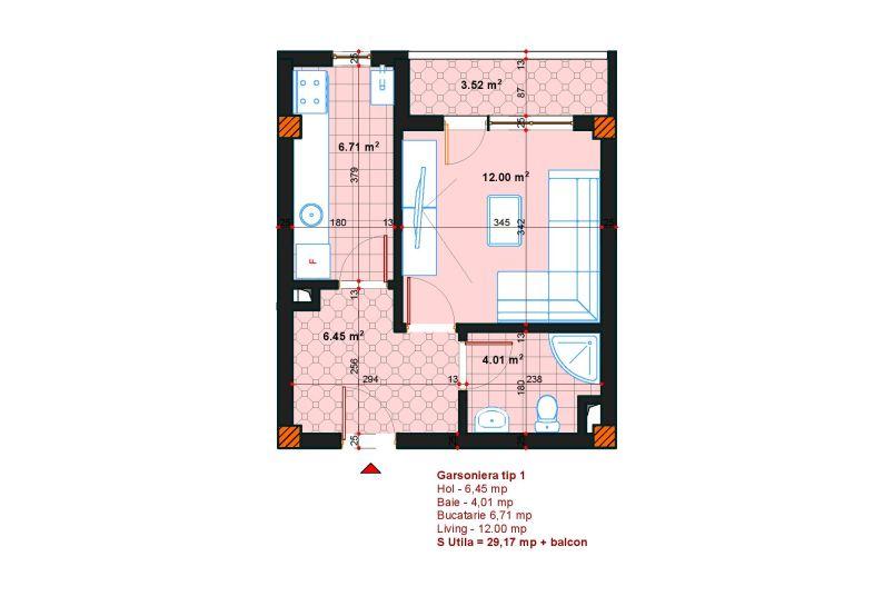 Garsoniere 1 camera, 32 mp, SP Postalionului