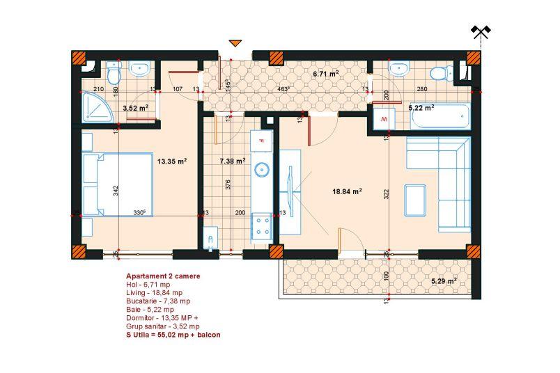 Apartamente 2 camere, 61 mp, SP Postalionului