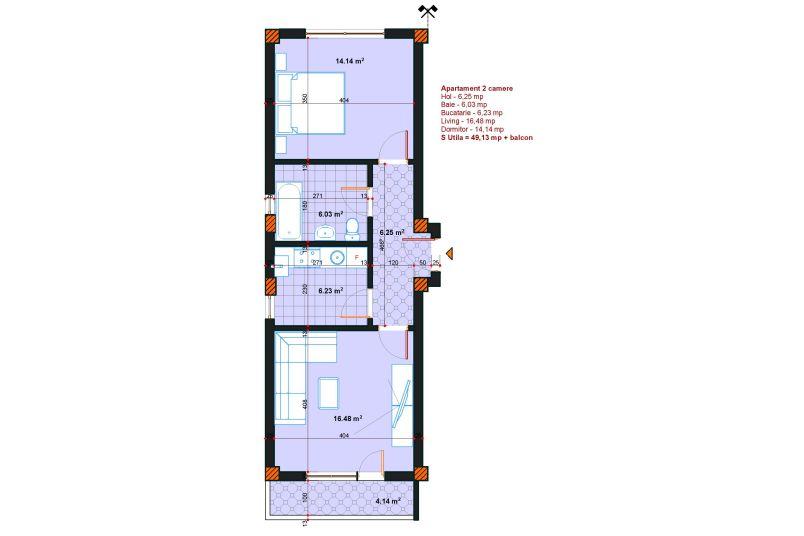 Apartamente 2 camere, 63 mp, SP Postalionului