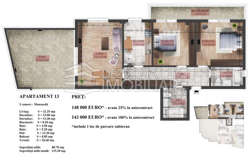 Apartament 3 camere, 115 mp, Mihai Bravu Residence X