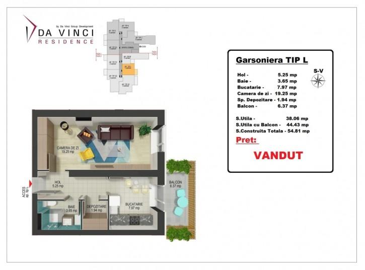 Garsoniere, 38 mp, tip L,  Da Vinci Residence Văcărești