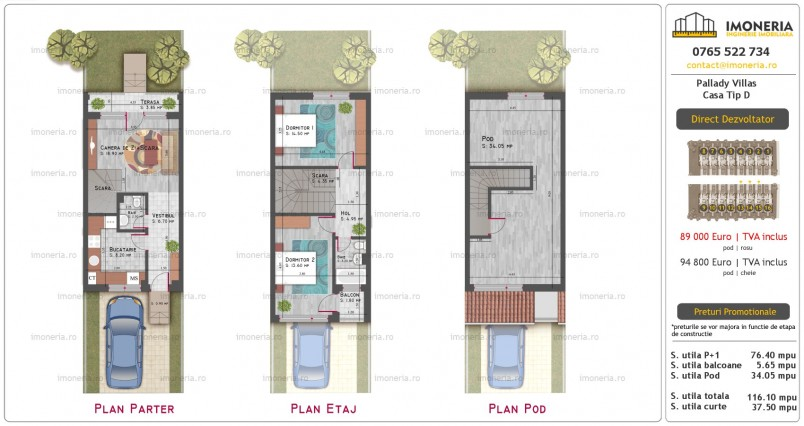 Case 4 camere, 116 mp, Pallady Villas