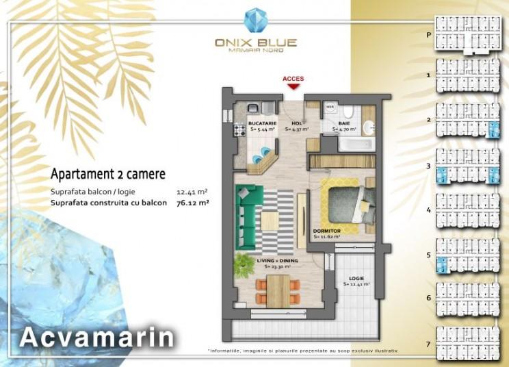 Apartamente 2 camere - Tip Acvamarin, 76 mp, Onix Blue Mamaia Nord