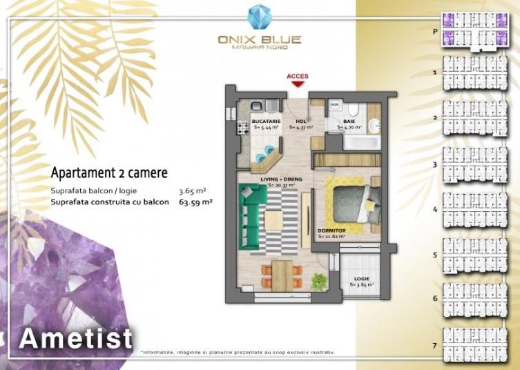 Apartament 2 camere - Tip Ametist, 63 mp, Onix Blue Mamaia Nord
