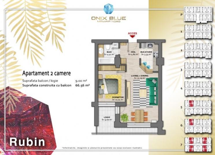 Apartamente 2 camere -  Tip Rubin, 66 mp, Onix Blue Mamaia Nord
