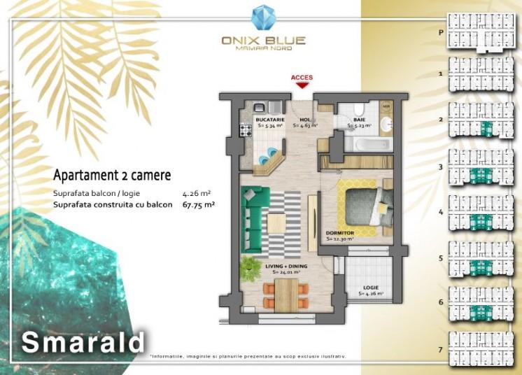 Apartamente 2 camere - Tip Smarald, 67 mp, Onix Blue Mamaia Nord