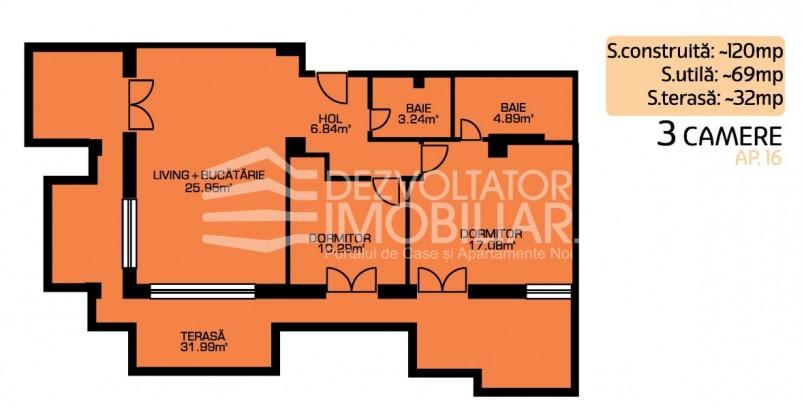 Apartamente 3 camere, 69 mp, Green Residence Sisești