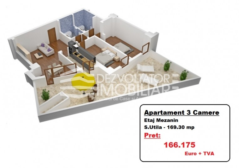 Apartamente 3 camere, 169.30 mp, Tineretului City