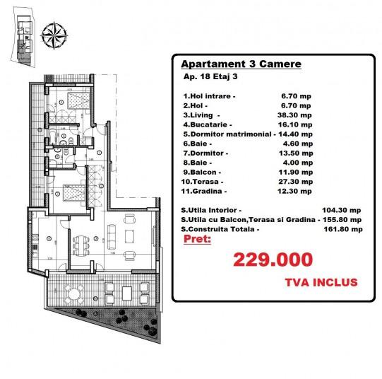 Apartamente 3 camere, 155.80 mp, Mosilor 33 Residence
