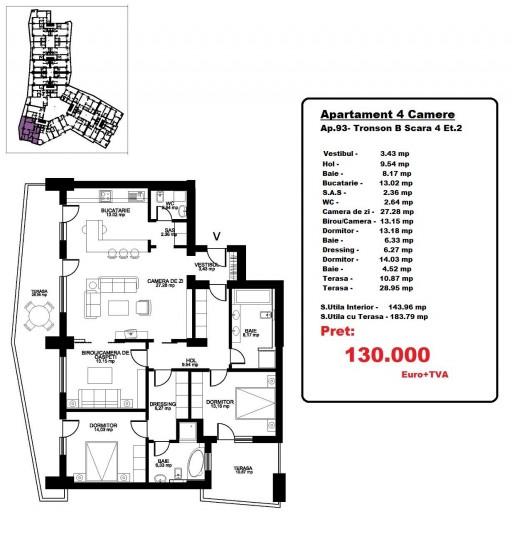 Apartamente 4 camere, 143 mp, Octopus Garden