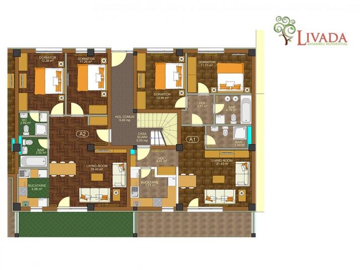 Apartamente 3 camere - A1, 69 mp, Ansamblul rezidential Livada