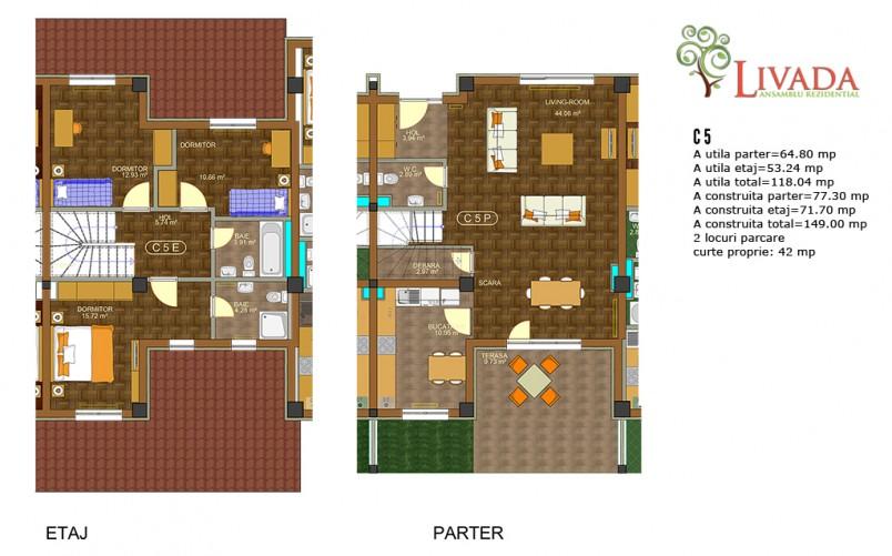 Casa 4 camere  C5, 118 mp, Ansamblul rezidential Livada