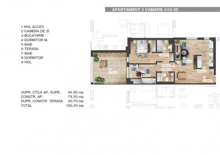 Apartamente 3 camere A10 - 3C, 66.90 mp, Belvedere Residences