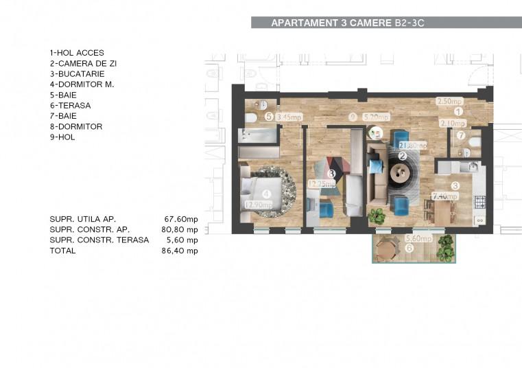 Apartamente 3 camere B2 - 3C, 67.60 mp, Belvedere Residences