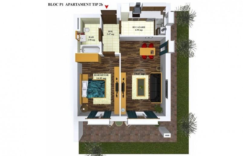 Apartamente 2 camere - TIP2/P1, 48.11 mp, Cosmopolis