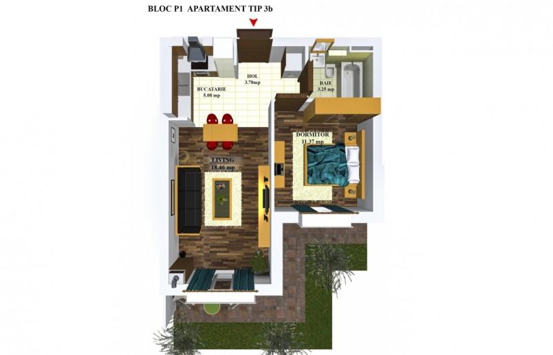 Apartamente 2 camere - TIP 3/P1, 41.94 mp, Cosmopolis