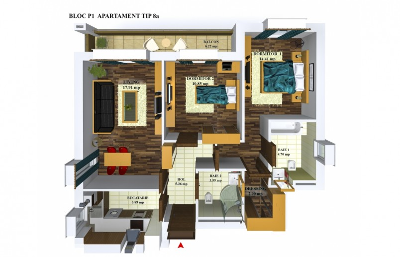 Apartamente 3 camere - tip 8/p1, 66,61 mp, Cosmopolis