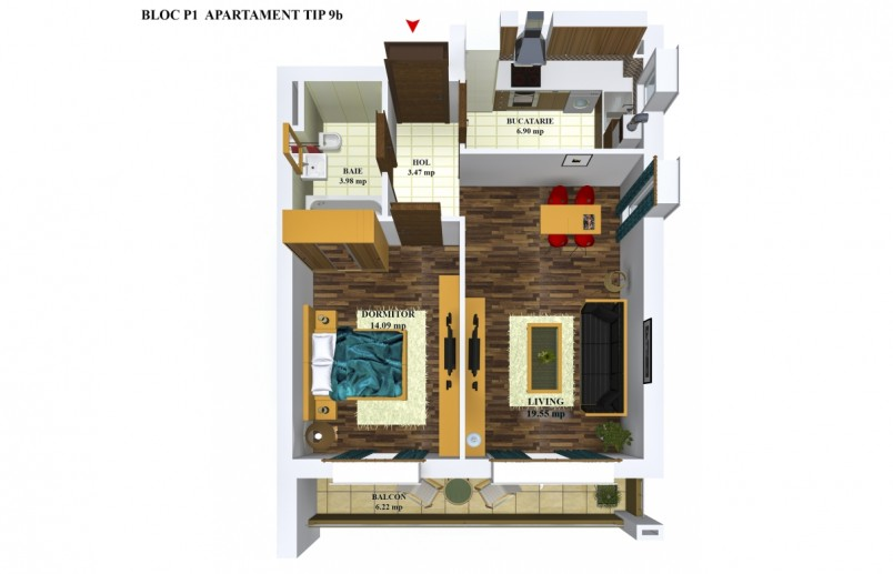 Apartamente 2 camere - TIP 9/p1, 48.05 mp, Cosmopolis