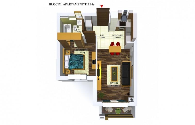 Apartamente 2 camere - tip 10/p1, 41.84 mp, Cosmopolis