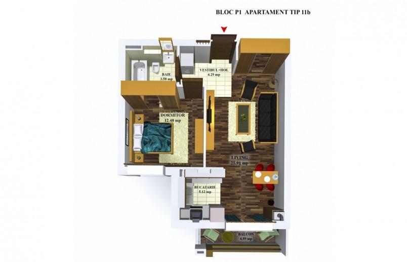 Apartamente 2 camere - tip 11/p1, 47.38 mp, Cosmopolis