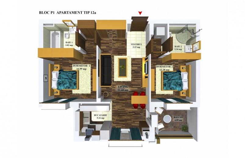 Apartamente 3 camere - tip 12/p1, 64.43 mp, Cosmopolis