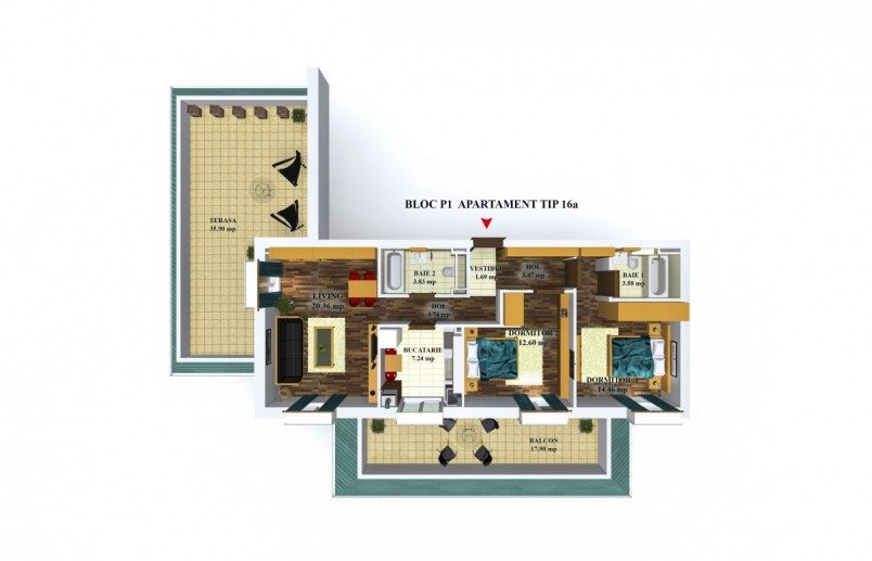 Apartamente 3 camere - tip 16/p1, 70.97 mp, Cosmopolis