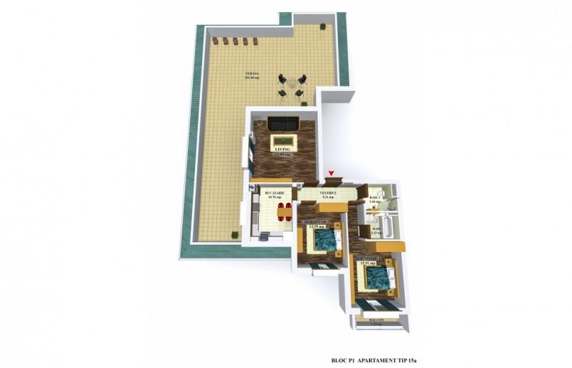 Apartamente 3 camere - tip 15/p1, 75.60 mp, Cosmopolis