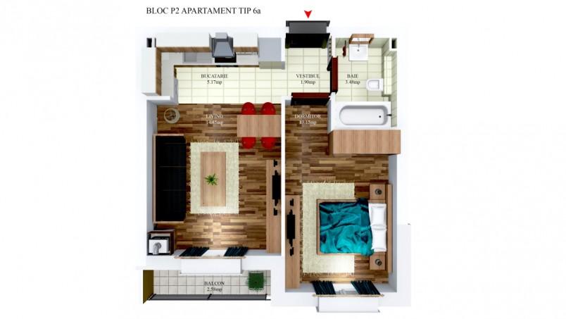 Apartamente 2 camere - tip 6/p2, 38.15 mp, Cosmopolis