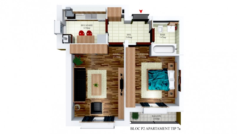 Apartamente 2 camere - tip7/p2, 45.62 mp, Cosmopolis