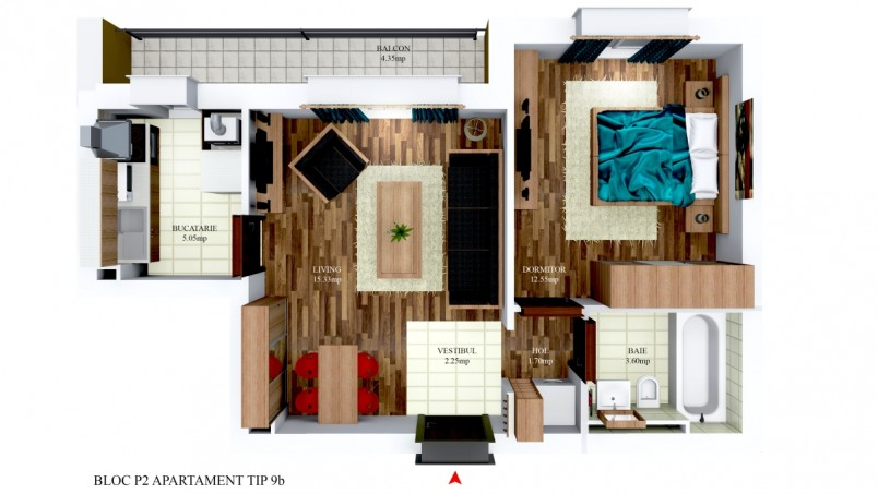 Apartamentele 2 camere - tip 9/p2, 40.48 mp, Cosmopolis
