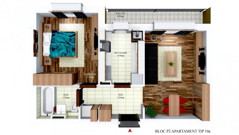 Apartamente 2 camere - tip 10/p2, 44 mp, Cosmopolis