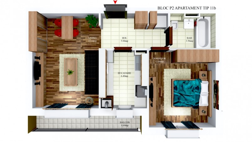Apartamente 2 camere - tip 11/p2, 44 mp, Cosmopolis
