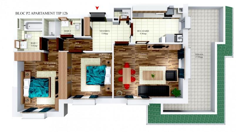 Apartamente 3 camere - tip 12/p2, 68.43 mp, Cosmopolis