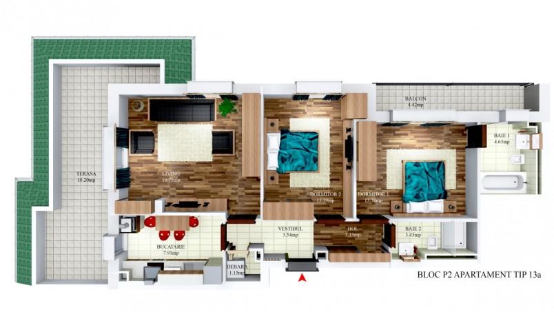 Apartamente 3 camere - tip 13/p2, 70 mp, Cosmopolis