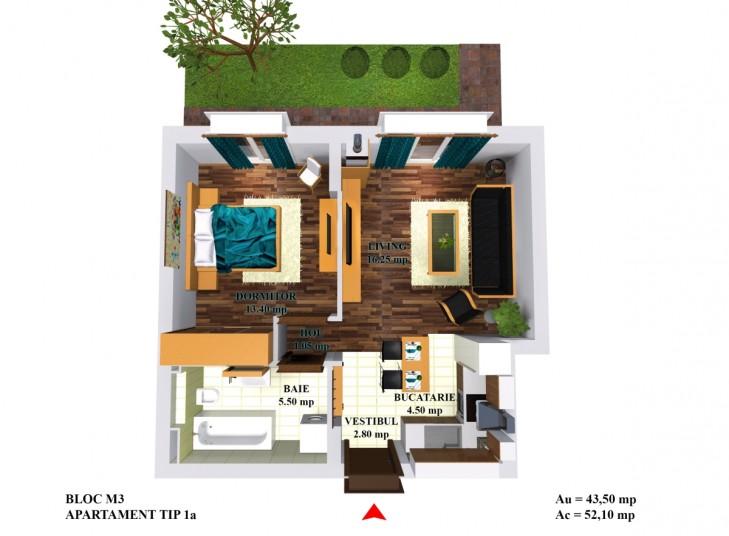 Apartamente 2 camere - tip 1a/m5, 44 mp, Cosmopolis