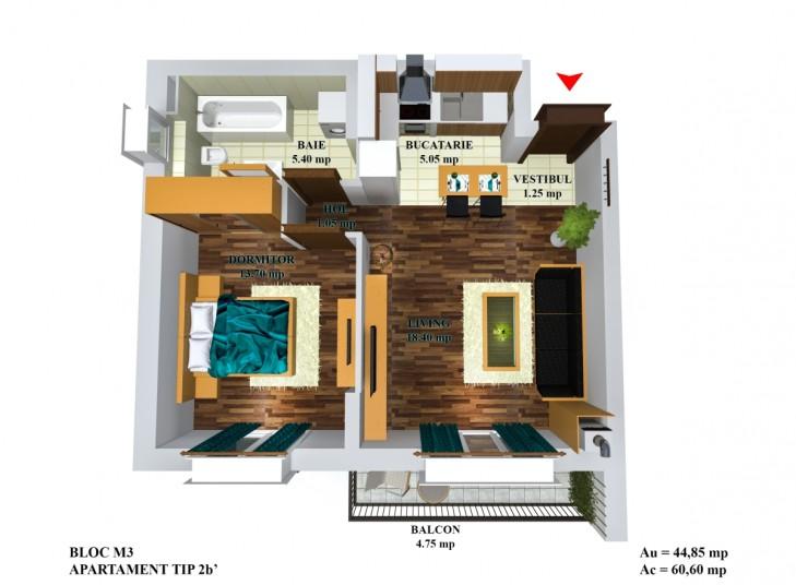 Apartamente 2 camere -  tip 2b`/m5, 44.85 mp, Cosmopolis