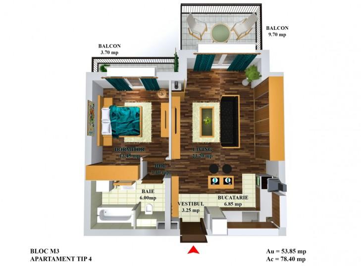 Apartamente 2 camere - tip 4/m5, 53.85, Cosmopolis