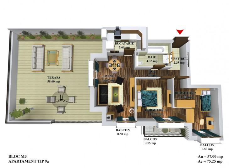 Apartamente 3 camere - tip 9a/m5, Cosmopolis