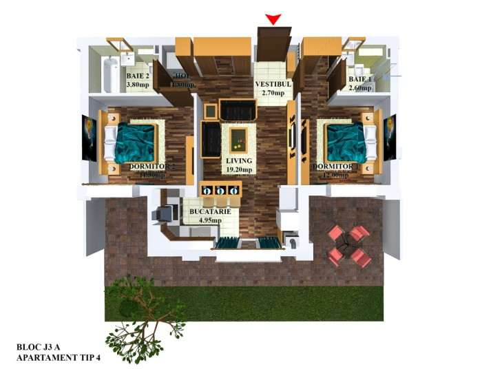 Apartamente 3 camere - tip 4/j3, 58.84 mp, Cosmopolis