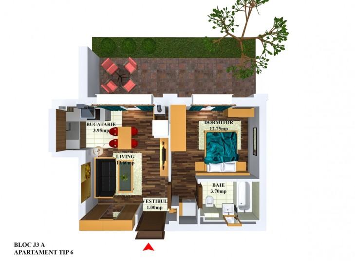 Apartamente 2 camere - tip 6/j3, 35.18 mp, Cosmopolis