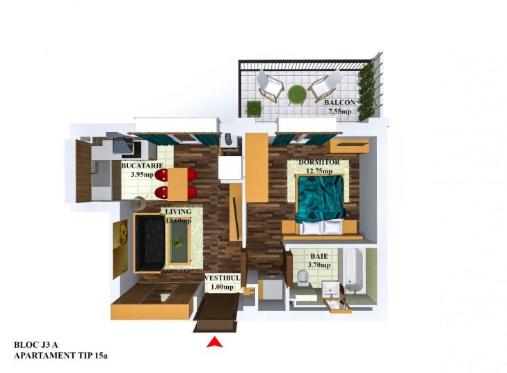 Apartamente 2 camere - tip 15/j3, 35,18 mp, Cosmopolis