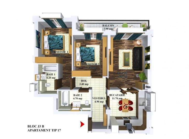 Apartamente 3 camere - tip 17/j3, 72.39 mp, Cosmopolis