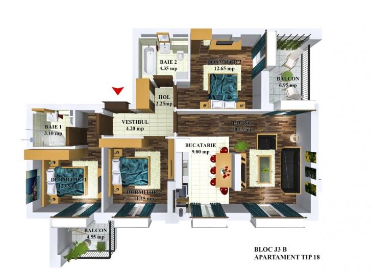 Apartamente 4 camere - tip 18/j3, 80.98 mp, Cosmopolis